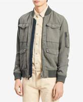 Calvin Klein Jeans Men's Rebuilt Full-Zip Linen Blend Bomber Jacket