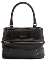 Givenchy Medium Pandora Croc Embossed Leather Shoulder Bag - Black