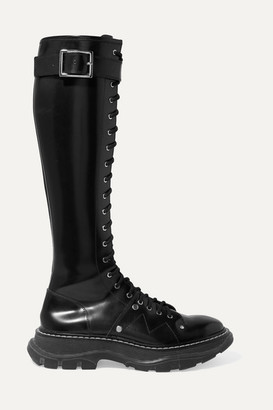 Alexander McQueen Glossed-leather Exaggerated-sole Knee Boots - Black