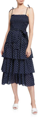 Tory Burch Smocked Polka Dot Tiered Midi Dress