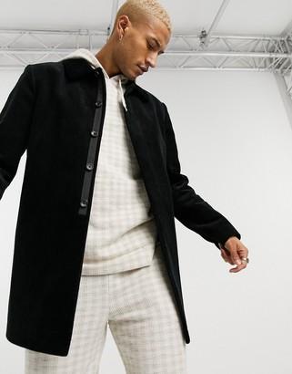 ASOS DESIGN cord trench coat in black