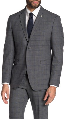 Original Penguin Medium Gray Windowpane Two Button Notch Lapel Suit Separates Blazer