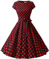 Dressystar Vintage 1950s Polka Dot and Solid Color Prom Dresses Cap-sleeve S