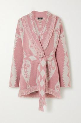 Alanui Belted Fringed Cashmere-blend Jacquard Cardigan - Pink