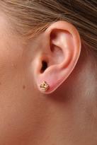 Puffed Gold Crown Stud Earrings