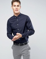 Asos Regular Fit Navy Shirt With Button Down Collar With Long Sleeves