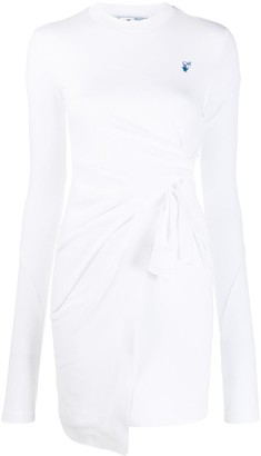 Off-White Embroidered Logo Wrap Dress