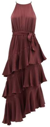 Zimmermann Espionage Silk Midi Dress - Womens - Dark Red