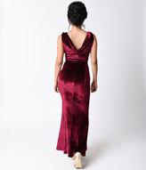 Unique Vintage 1930s Style Burgundy Red Sleeveless Velvet Goldwyn Gown