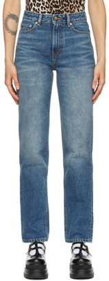 Ganni Blue High-Waisted Straight Jeans