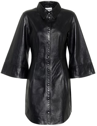 Ganni Leather mini shirt dress