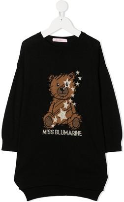 Miss Blumarine Logo Teddy Embroidered Jumper Dress