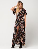 Angie Floral Surplice Womens Maxi Romper