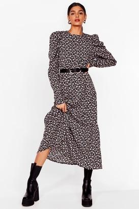 Nasty Gal Womens Puff Sleeve Midaxi Dress - Black