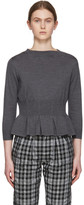 Comme des Garcons Grey Wool Hourglass Shape Sweater