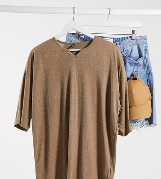 ASOS DESIGN Tall oversized t-shirt with notch neck and half sleeve in beige linen mix