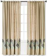 "Threshold One Window Curtain Panel Blue Zigzag Embroidered Light Brown 54"" x 84"""