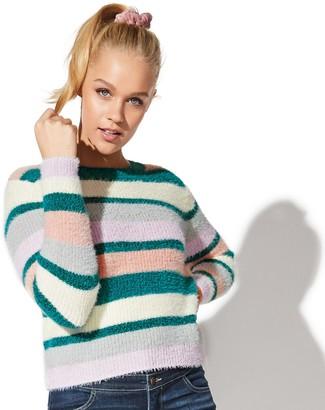 Juniors' Vylette Stripe Eyelash Sweater
