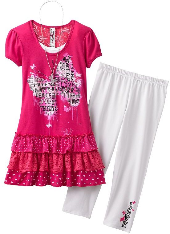 Knitworks mock-layer butterfly top and capri leggings set - girls 7-16