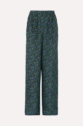 Balenciaga Floral-print Silk-crepe Wide-leg Pants - Blue