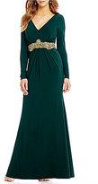 Eliza J V Neck Beaded Waist Gown
