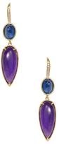 Ila Valencia 14K Yellow Gold, Amethyst, Blue Sapphire & 0.08 Total Ct. Diamond Drop Earrings