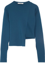 Tibi Asymmetric Ribbed-knit Sweater - Petrol