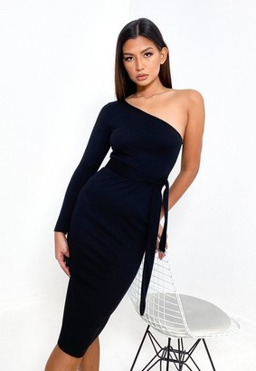 Missguided Black Rib One Shoulder Belted Midi Dress