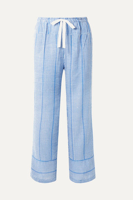Lemlem Net Sustain Zinab Metallic Striped Cotton-blend Voile Pants - Light blue