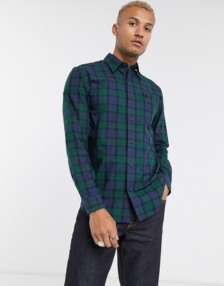 Fred Perry blackwatch check button down shirt in green and navy