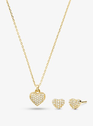 Michael Kors 14K Gold-Plated Sterling Silver Pave Heart Necklace and Stud Earrings Set