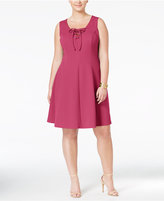 Love Squared Trendy Plus Size Lace-Up Fit & Flare Dress