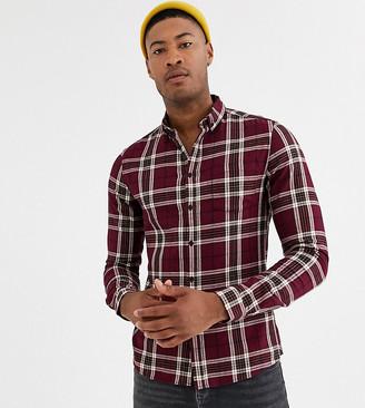 Asos Design DESIGN Tall slim stretch check shirt in burgundy-Red