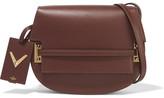 Valentino Satchel Studded Leather Shoulder Bag - Dark brown