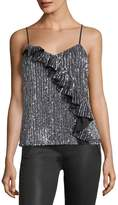 Parker Justine Sequined Camisole Top w/ Ruffled Frill