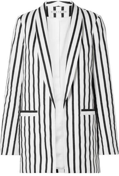 Alice + Olivia Alice Olivia - Kylie Striped Cotton-blend Twill Blazer - Black