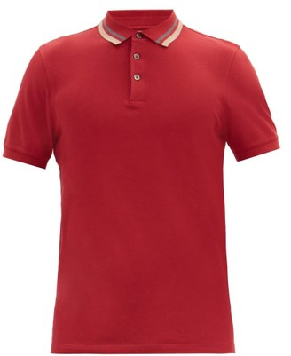 Brunello Cucinelli Striped-collar Cotton-pique Polo Shirt - Burgundy