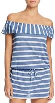 Splendid Chambray Cottage Stripe Off-the-Shoulder Dress Swim Cover-Up