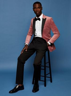 Topman Pink Velvet Single Breasted Skinny Fit Suit Blazer With Peak Lapels