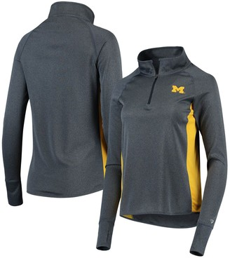 Colosseum Women's Heathered Navy Michigan Wolverines Albi Quarter-Zip Raglan Pullover Jacket