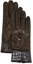 Portolano Cashmere-Lined Napa Leather Gloves w/ Croc Embossed Cuffs