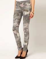 Asos Skinny Jeans In Abstract Camouflage Print