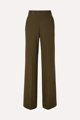 Roland Mouret Palmetto Button-detailed Wool-crepe Wide-leg Pants - Army green
