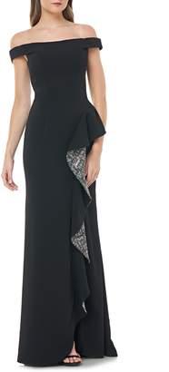 Carmen Marc Valvo Off the Shoulder Crepe Gown