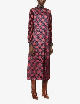 Dries Van Noten Graphic-print satin-crepe midi dress
