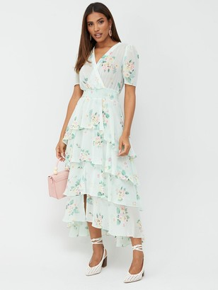 Very Ruffle Tiered Occasion Maxi Dress - Floral