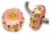 SEXY SPARKLES Two Pink on Gold Plated Metal Charm Beads For Snake Chain Charm Bracelet