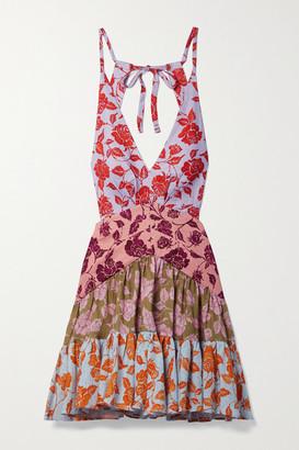 Zimmermann The Lovestruck Floral-print Linen Halterneck Mini Dress - Pink