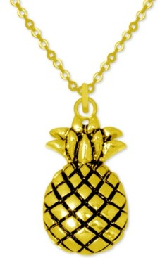 "Kona Bay Pineapple Pendant Necklace in Gold-Plate, 16"" + 2"" extender"