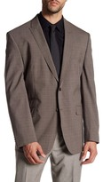 Vince Camuto Brown Plaid Two Button Notch Lapel Suit Separates Jacket